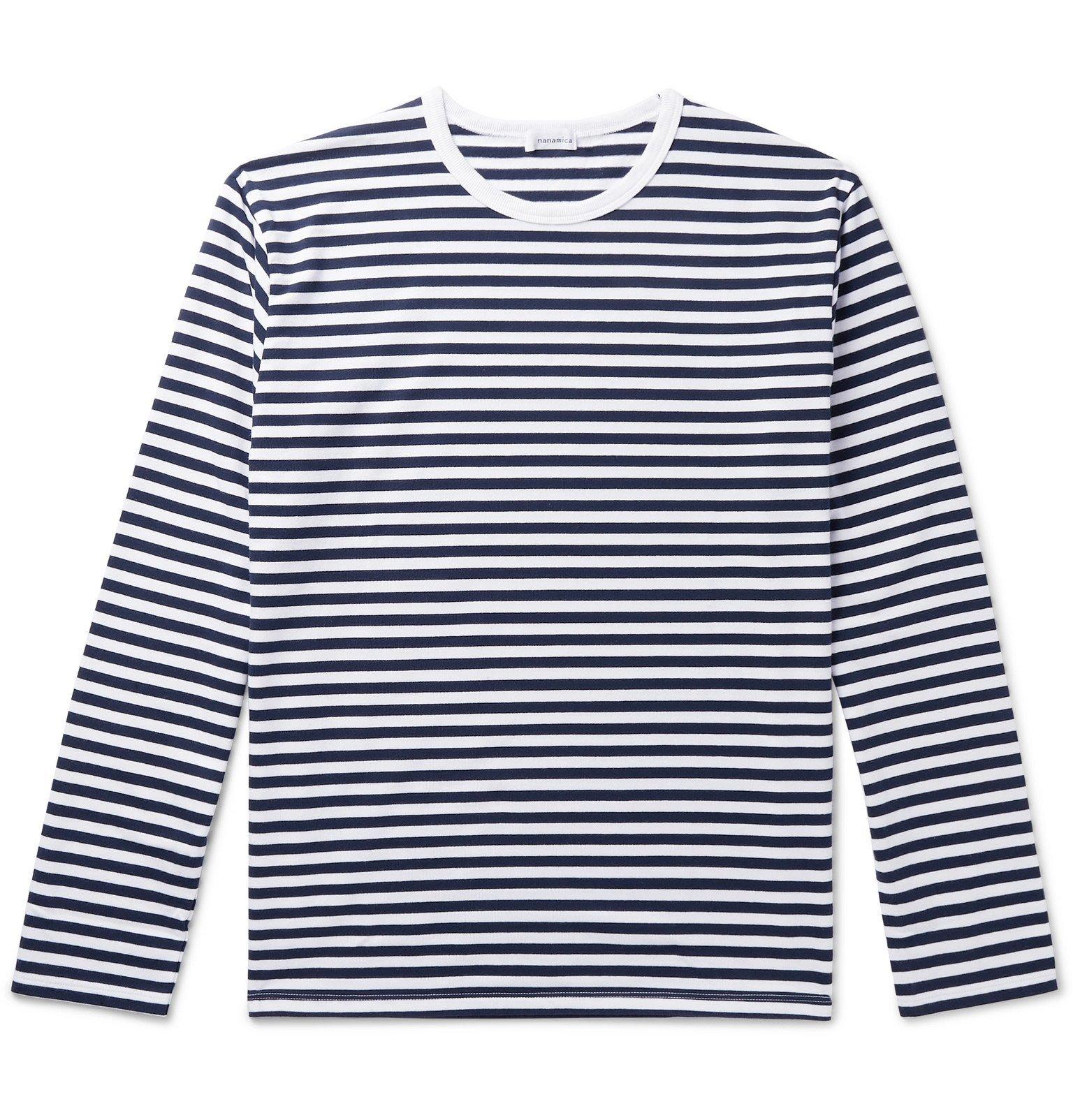 Photo: nanamica - Striped Coolmax Cotton-Blend Jersey T-Shirt - Blue