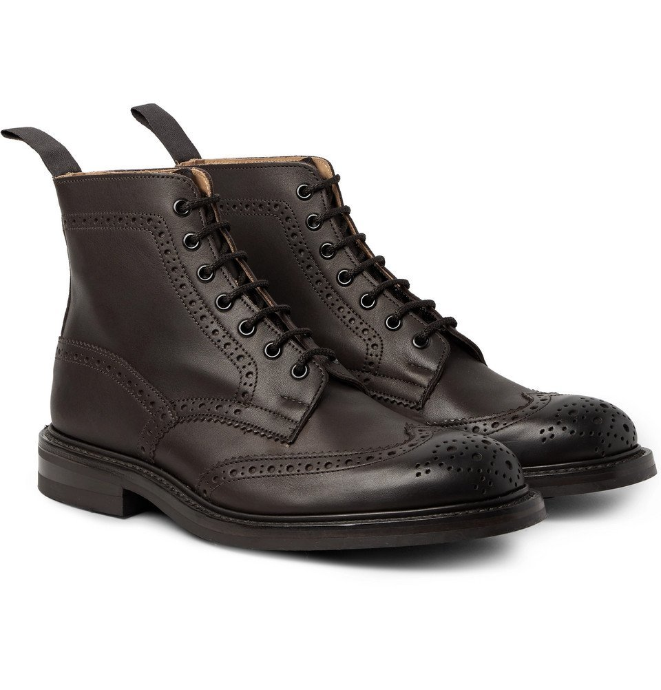 Photo: Tricker's - Stow Burnished-Leather Brogue Boots - Men - Dark brown