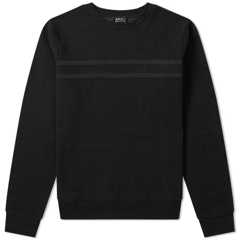 Photo: A.P.C. Stripe Crew Sweat Black