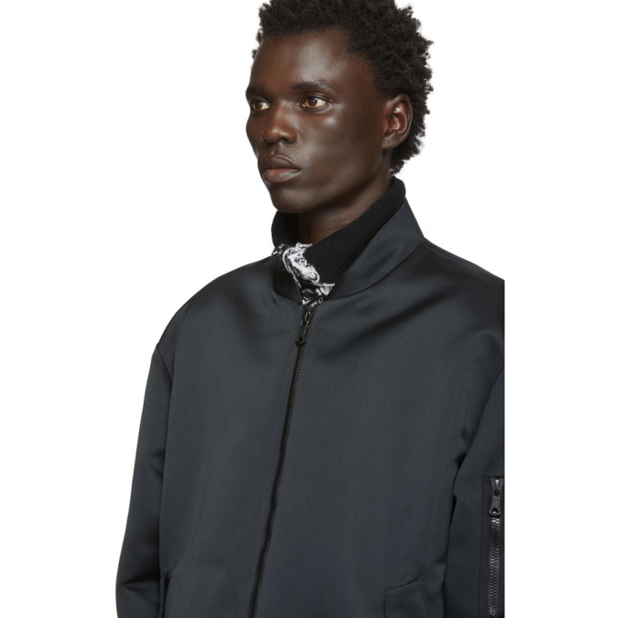 Valentino Black Crepe Moon Dust Bomber Jacket