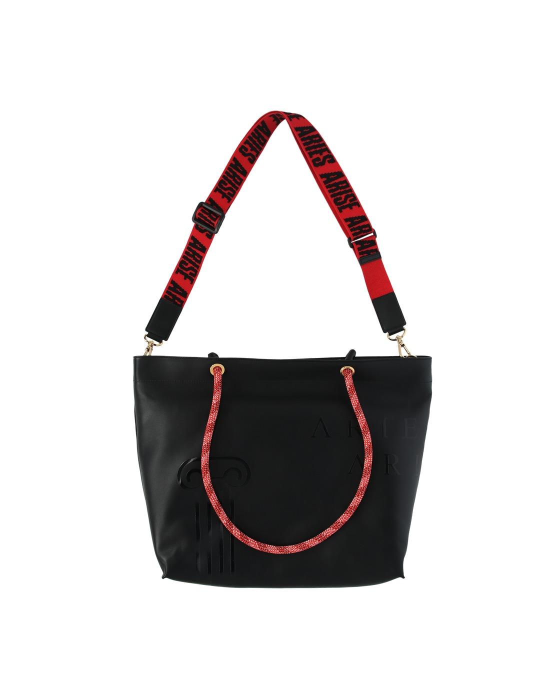 Aries Leather Shopper Bag Black