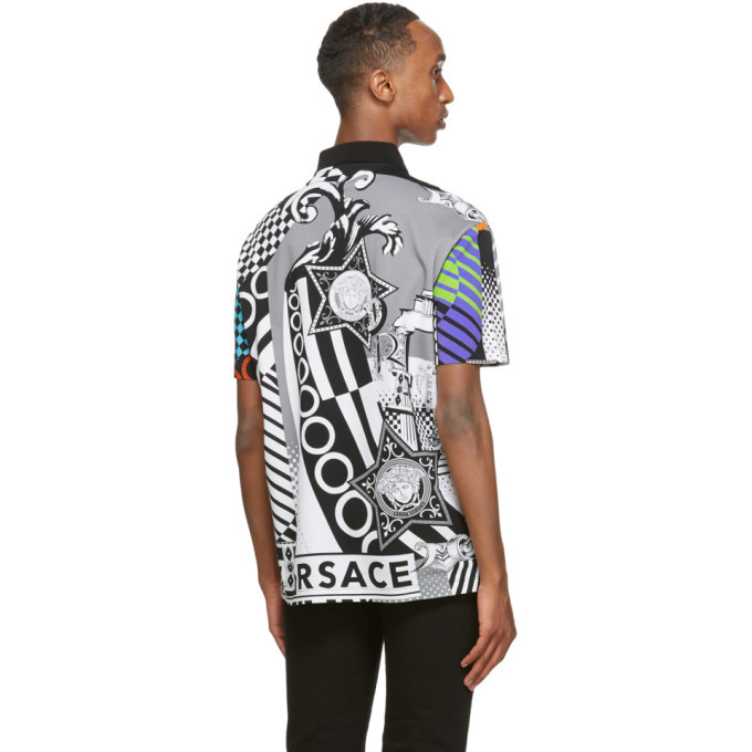 Versace Multicolor Collage Print Taylor-Fit Polo