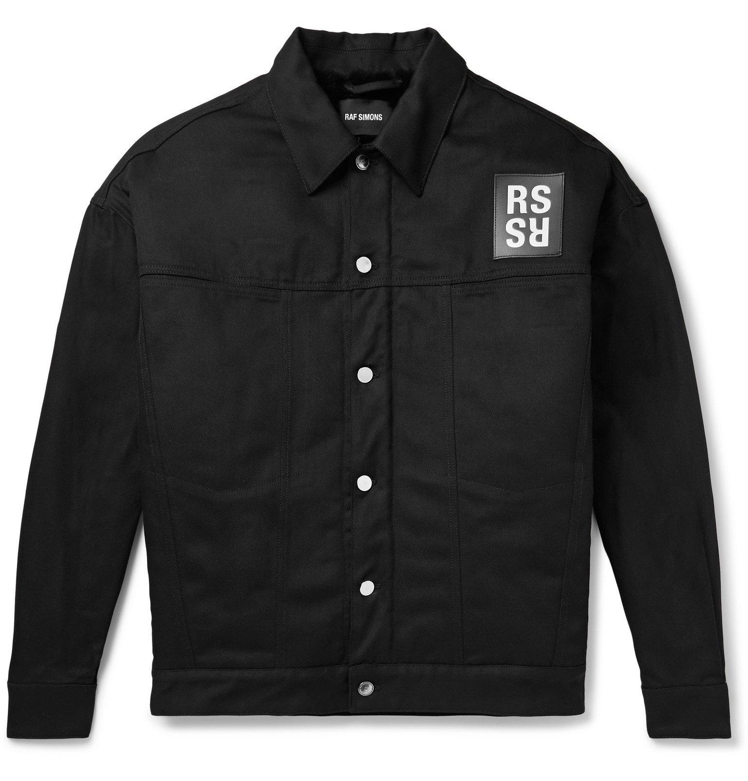 Raf Simons - Oversized Logo-Appliquéd Faux Fur-Lined Denim Jacket - Black
