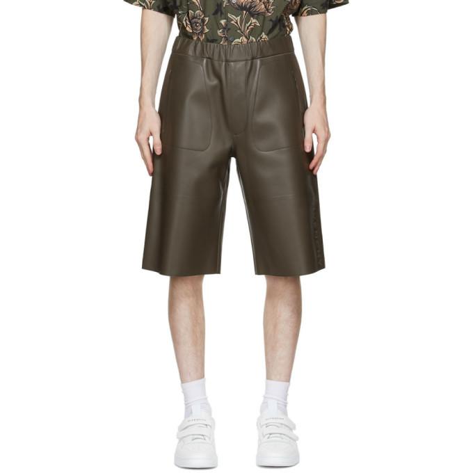 Photo: Givenchy Khaki Leather Bonded Bermuda Shorts