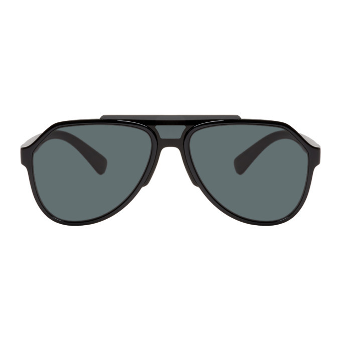 Photo: Dolce and Gabbana Black Aviator Sunglasses