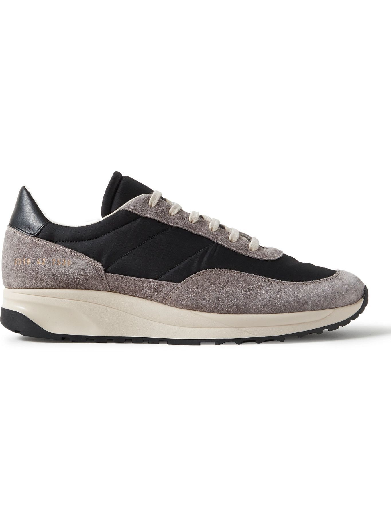 Photo: Common Projects - Track Classic Leather-Trimmed Suede and Ripstop Sneakers - Gray