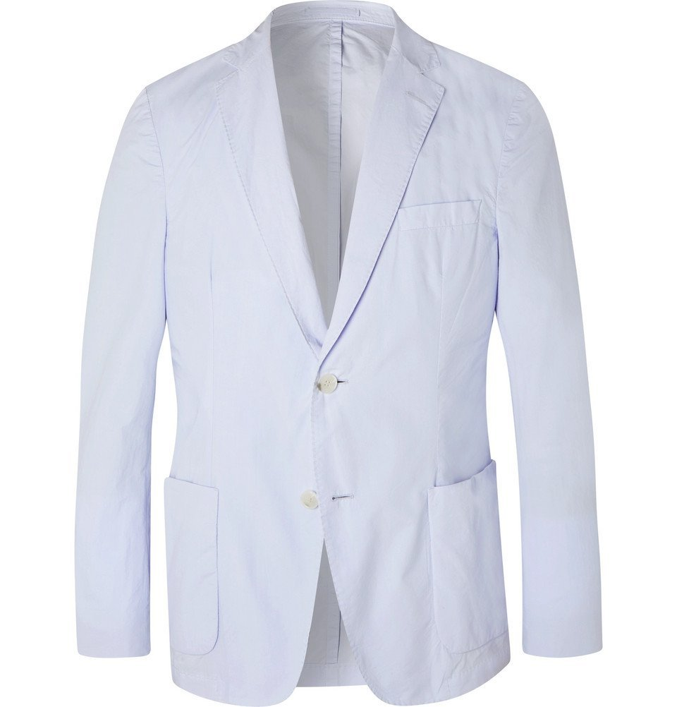 Photo: Officine Generale - Sky-Blue Unstructured Cotton-Poplin Blazer - Blue
