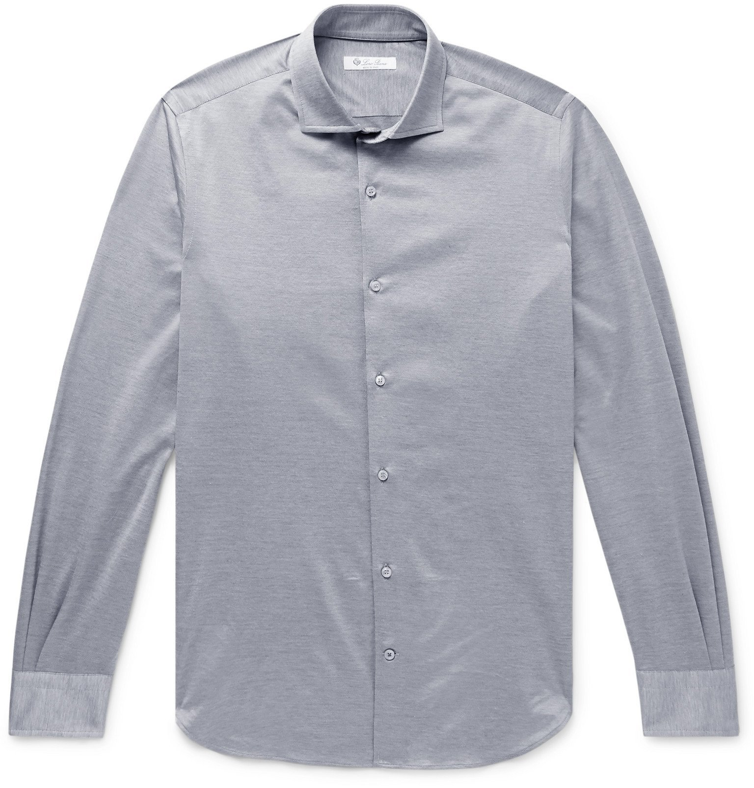Photo: Loro Piana - Slim-Fit Cotton-Jersey Shirt - Gray