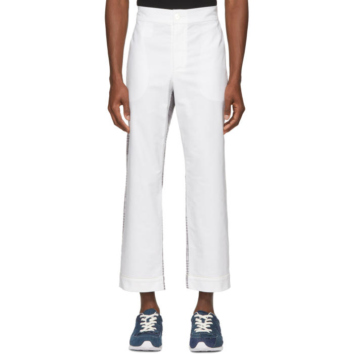 Photo: Thom Browne White and Grey Bicolor Pajama Trousers