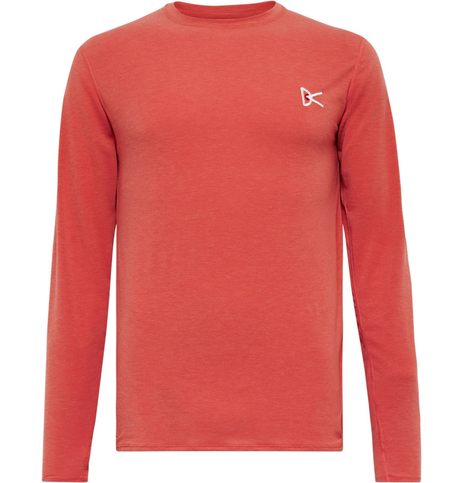 Photo: DISTRICT VISION - Tadasana Logo-Embroidered Printed Mélange Stretch-Jersey T-Shirt - Red