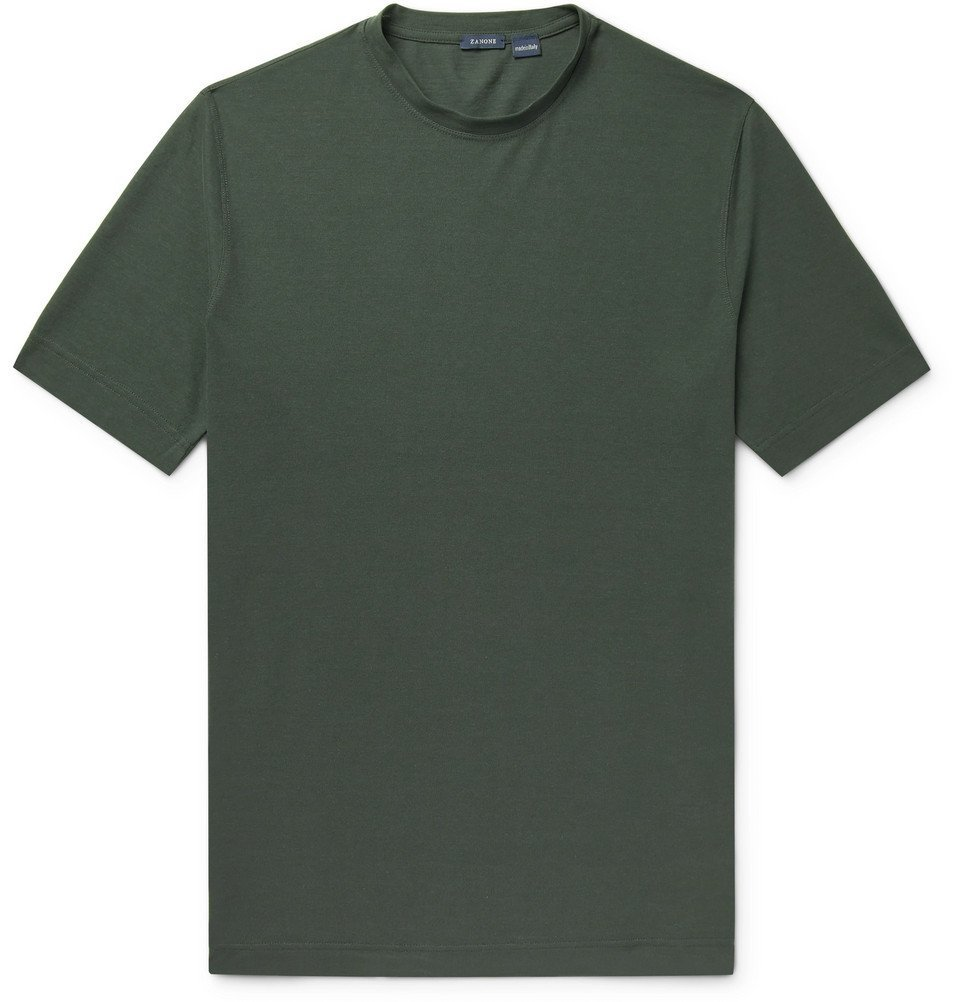 Photo: Incotex - Slim-Fit Ice Cotton-Jersey T-Shirt - Green