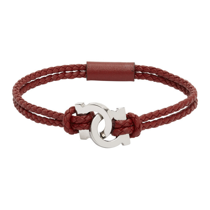 Photo: Salvatore Ferragamo Red Woven Gancio Bracelet