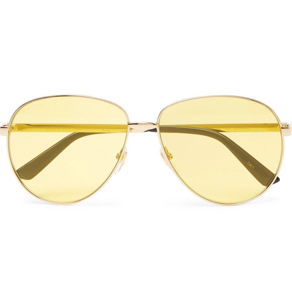 Photo: Gucci - Aviator-Style Gold-Tone Sunglasses - Men - Gold