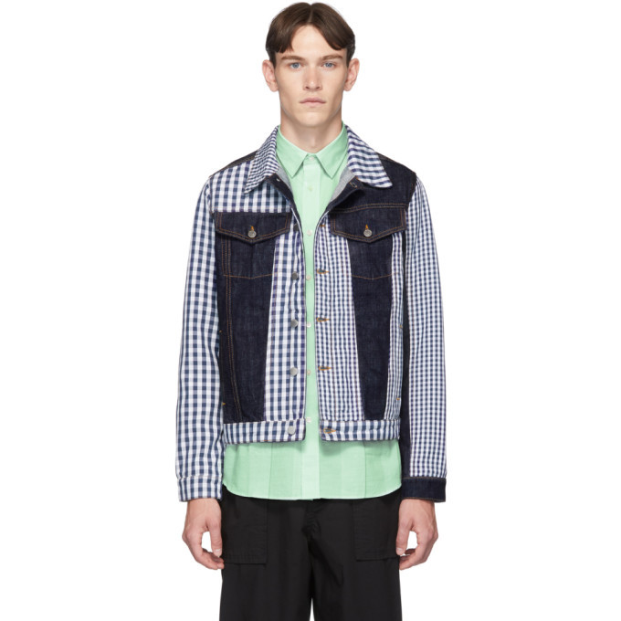 Photo: JW Anderson Indigo Denim Gingham Patchwork Jacket