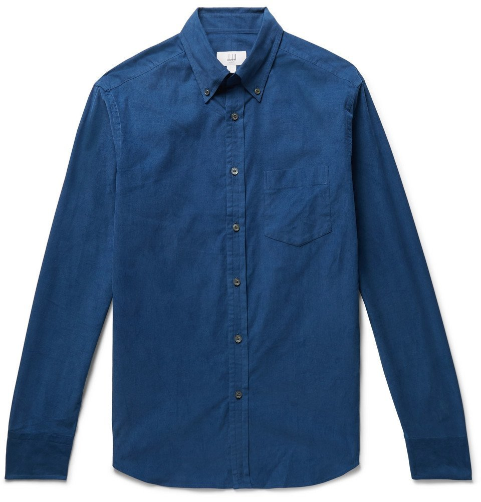 Dunhill - Button-Down Collar Cotton-Corduroy Shirt - Men - Blue