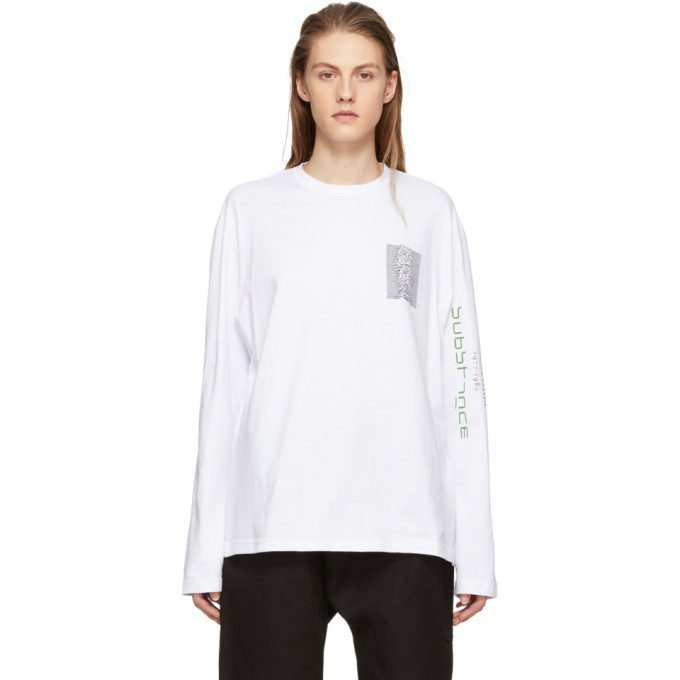 Raf Simons White Long Sleeve Joy Division Unknown Pleasures Substance T-Shirt