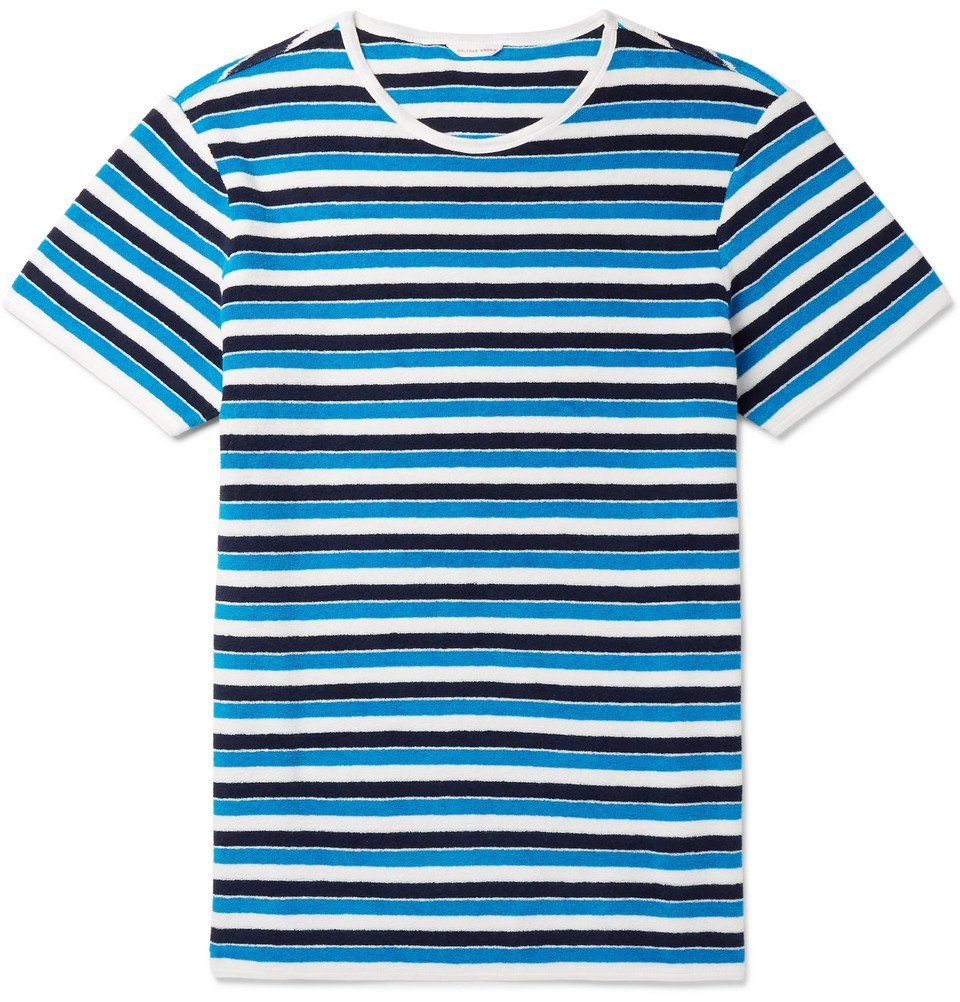 Photo: Orlebar Brown - Striped Cotton-Terry T-Shirt - Blue