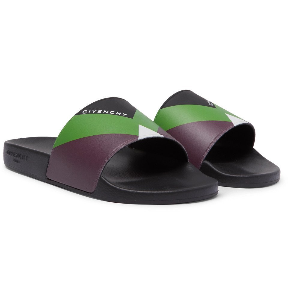 Photo: Givenchy - Logo-Print Colour-Block Rubber Slides - Black