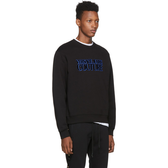 Versace Jeans Couture Black Flocked Logo Crewneck Sweatshirt