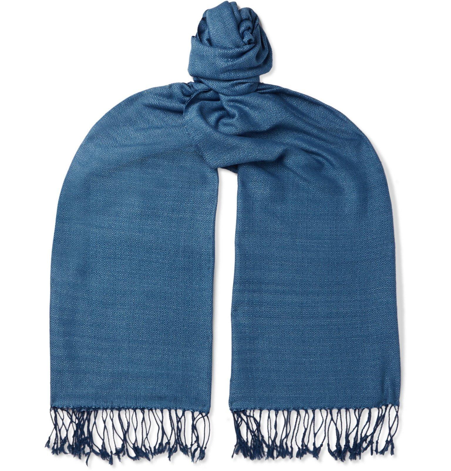 Photo: Il Bussetto - Fringed Indigo-Dyed Cotton-Jacquard Scarf - Blue