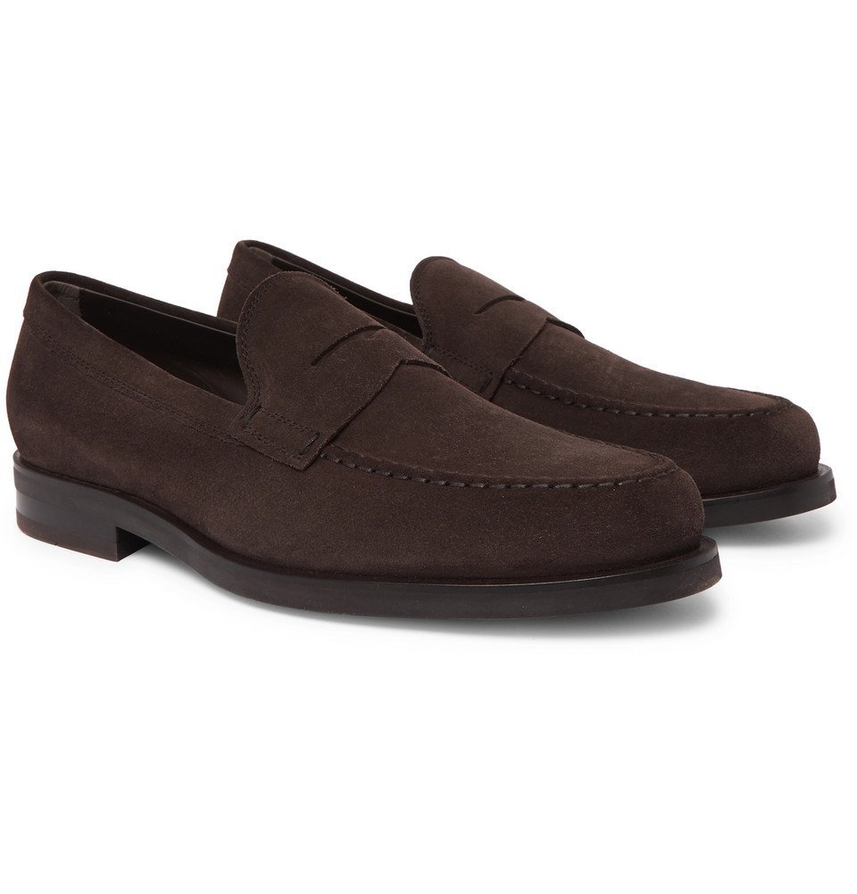 Photo: Tod's - Suede Penny Loafers - Dark brown