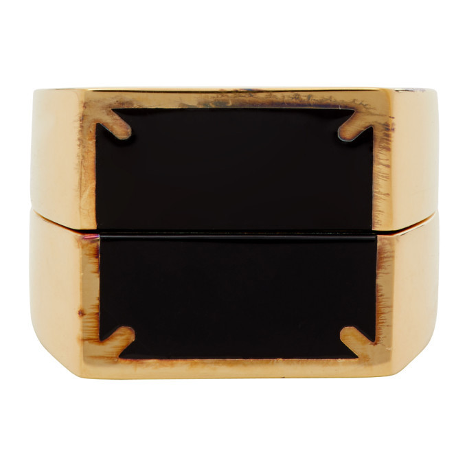 Photo: Maison Margiela Gold and Black Dual Stackable Rings