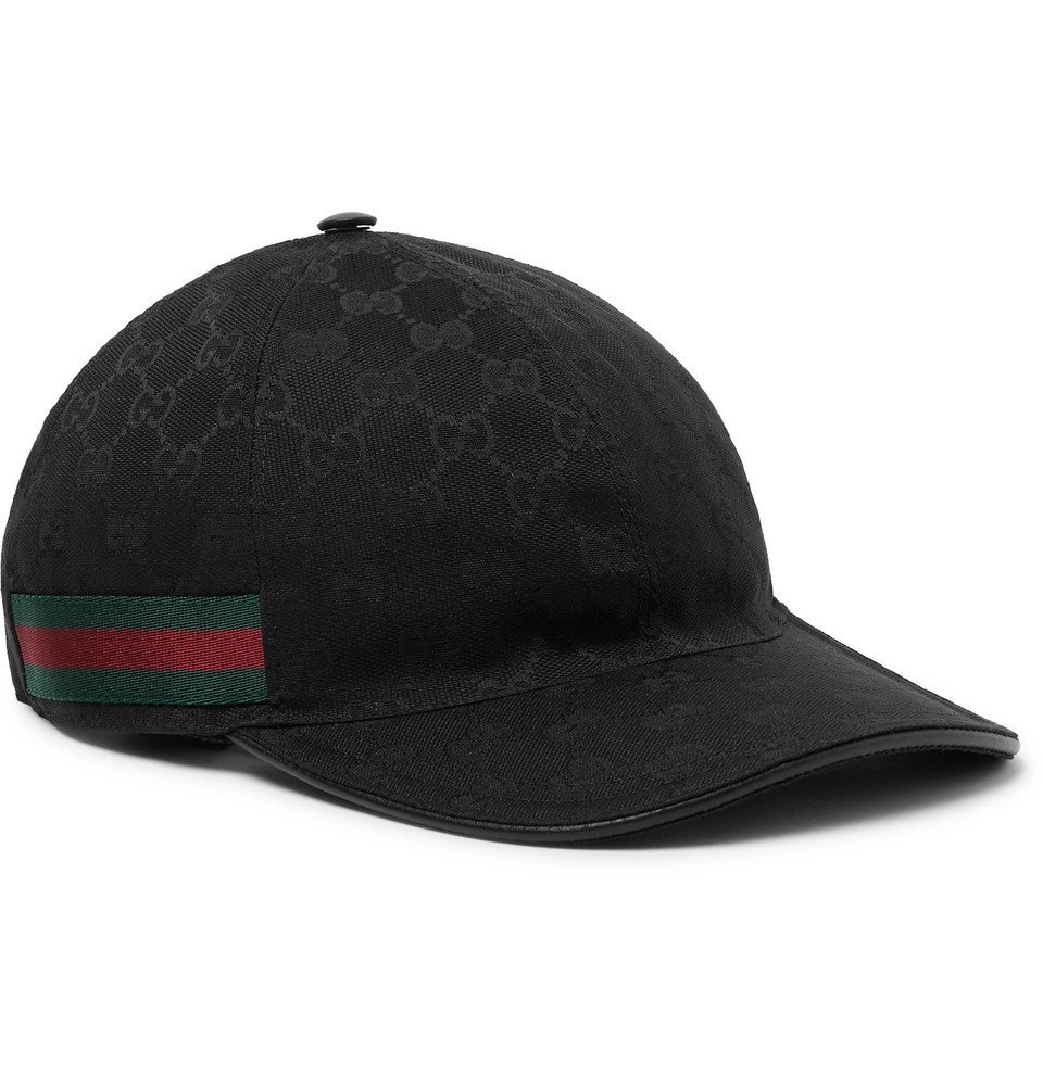 Photo: Gucci - Webbing-Trimmed Monogrammed Canvas Baseball Cap - Black