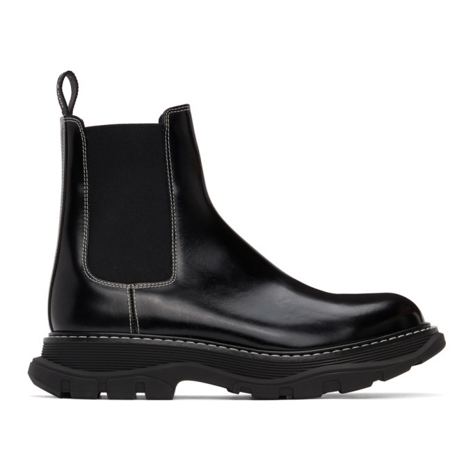 Photo: Alexander McQueen Black Contrast Stitch Tread Chelsea Boots
