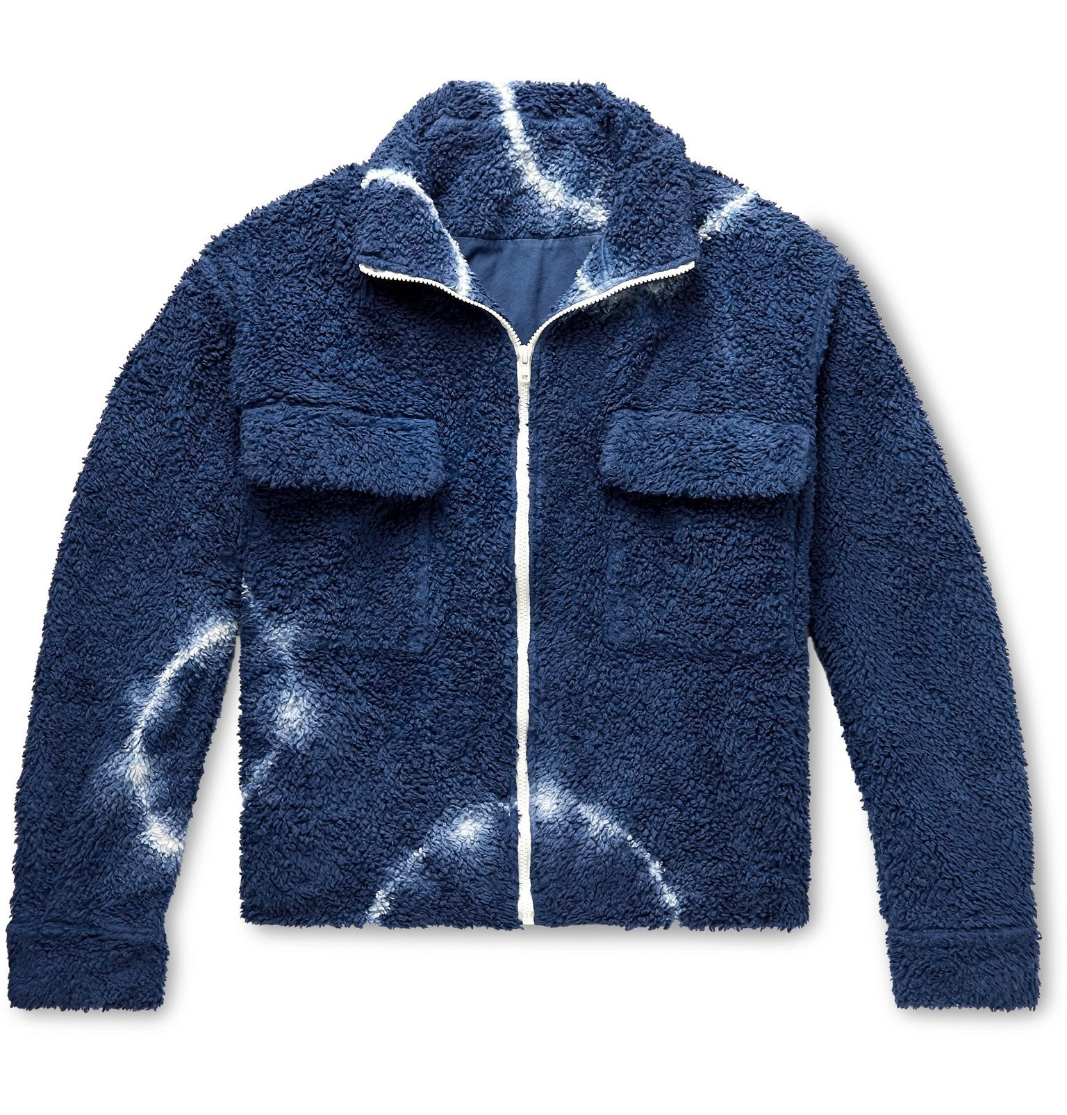Photo: The Elder Statesman - Tie-Dyed Cotton-Blend Fleece Jacket - Blue