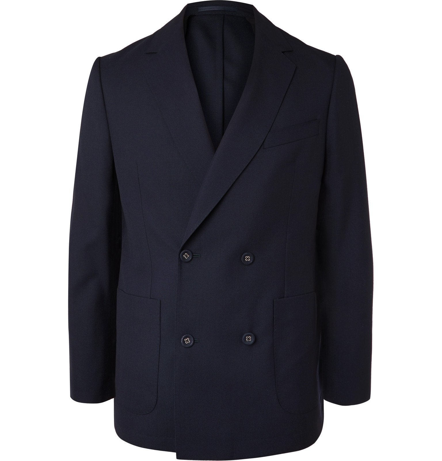 Photo: Officine Generale - Navy Leon Unstructured Double-Breasted Wool Blazer - Blue
