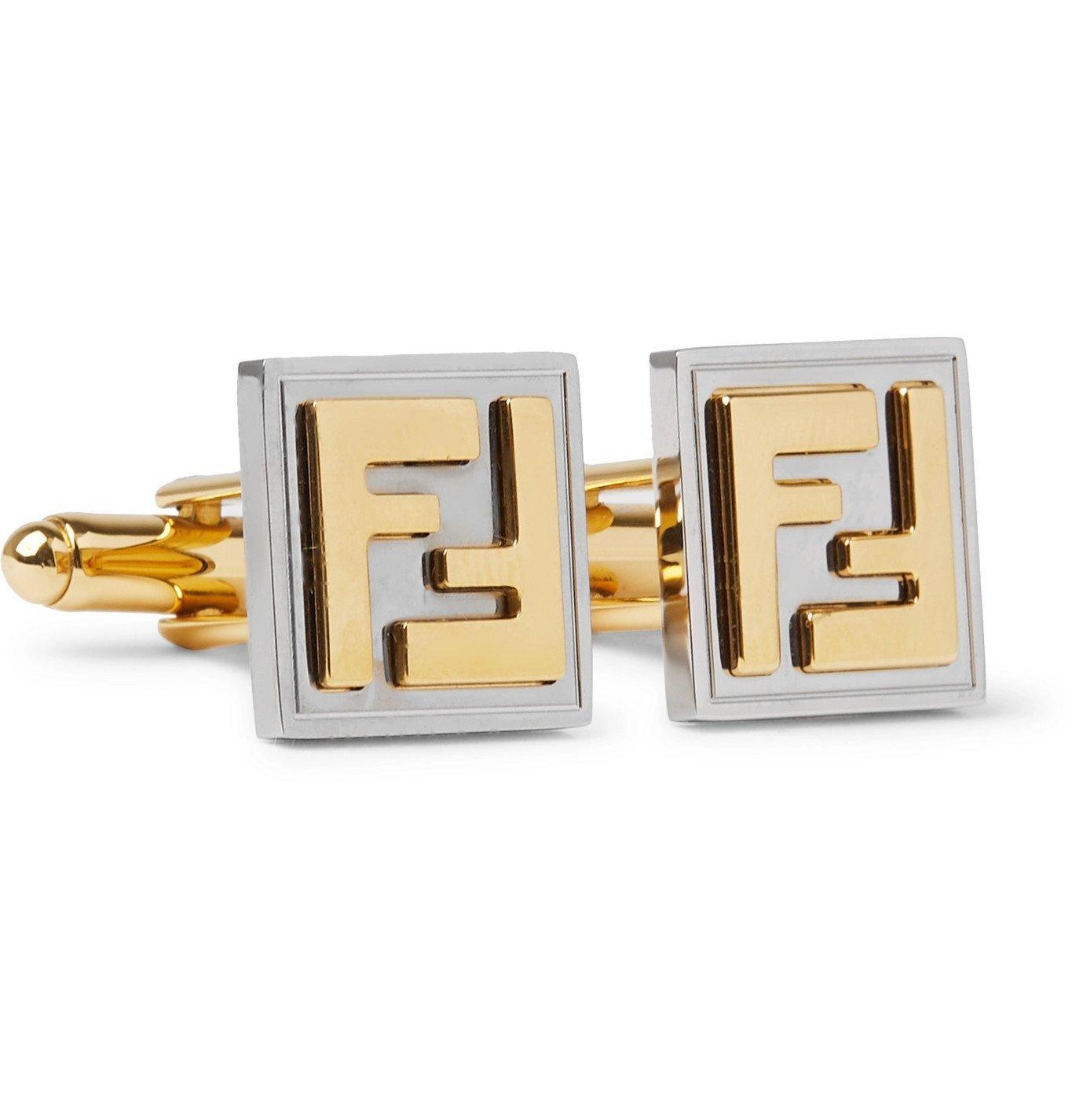 Photo: Fendi - Logo-Embossed Gold-Tone and Palladium-Plated Cufflinks - Gold