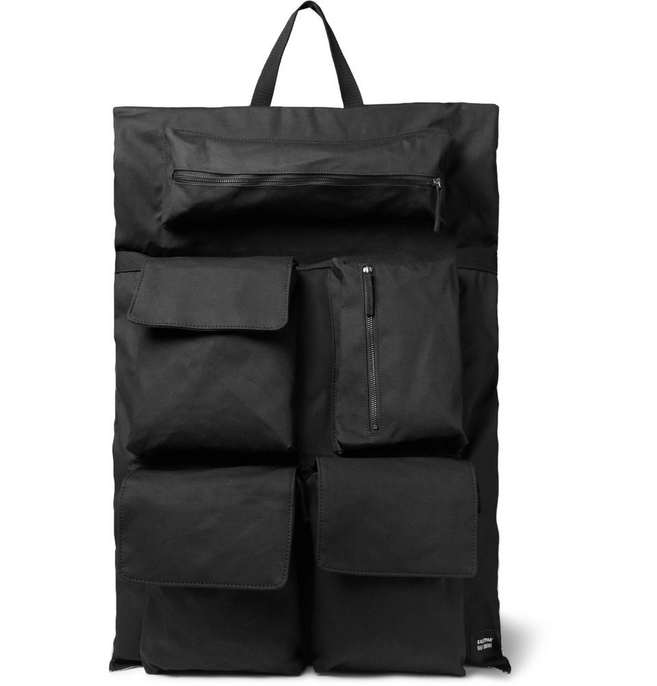 Photo: Raf Simons - Eastpak Oversized Printed Shell and Cotton-Canvas Backpack - Black