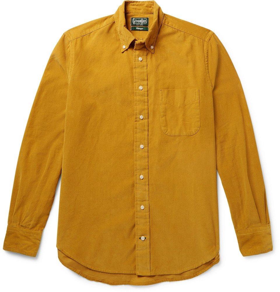Photo: Gitman Vintage - Slim-Fit Button-Down Collar Cotton-Corduroy Shirt - Men - Mustard