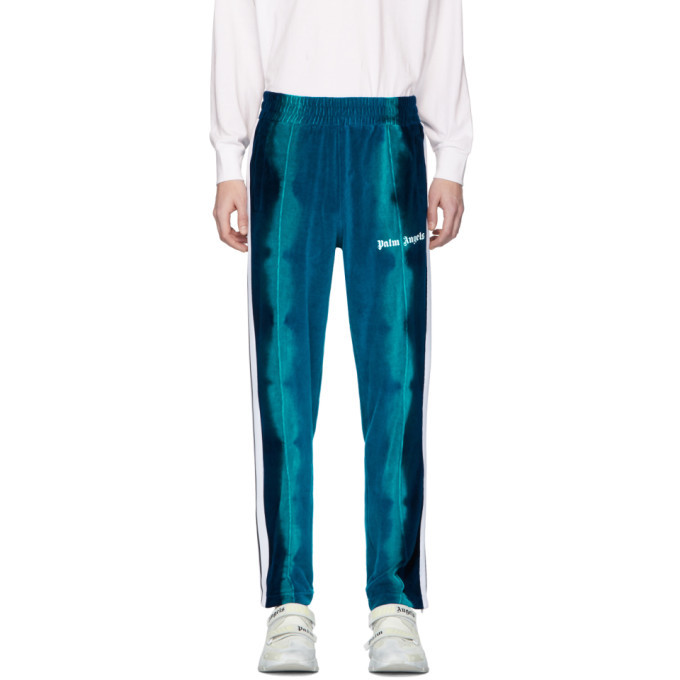 Photo: Palm Angels Blue Chenille Tie-Dye Lounge Pants