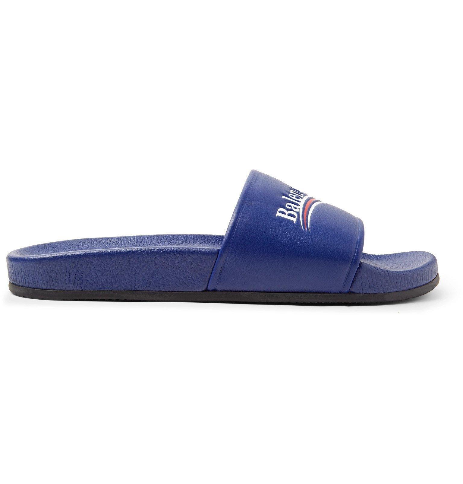Photo: Balenciaga - Logo-Print Leather Slides - Blue