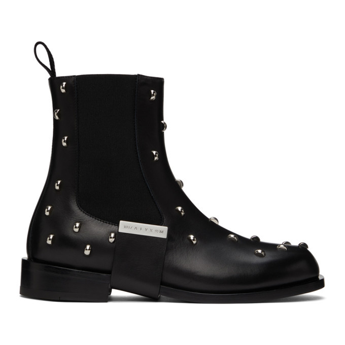Photo: 1017 ALYX 9SM Black Leather Strap Studded Chelsea Boots
