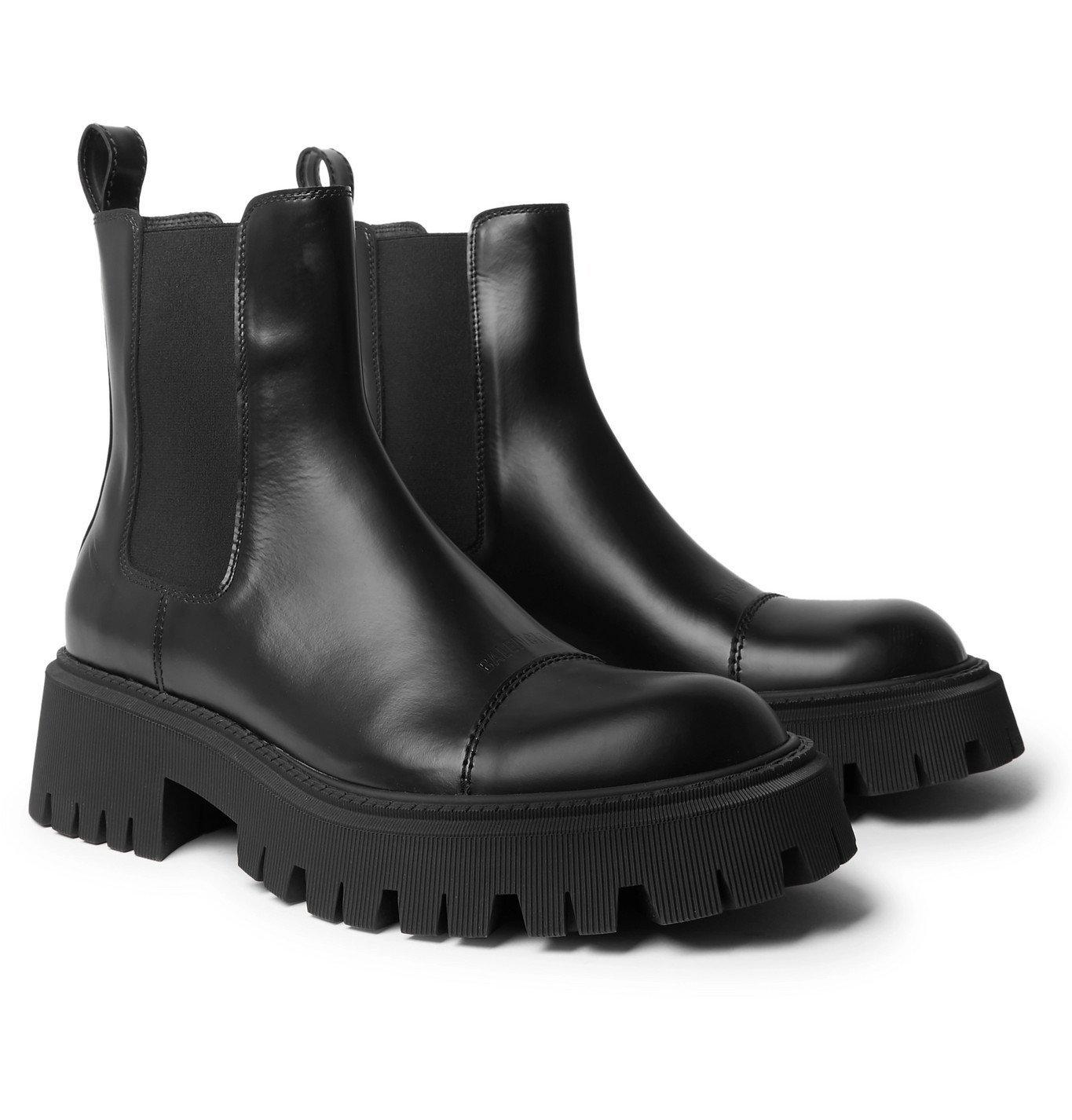 Photo: BALENCIAGA - Tractor Logo-Debossed Leather Chelsea Boots - Black