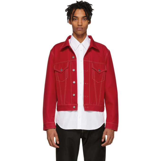 Photo: Helmut Lang Red Denim Masc Trucker Jacket