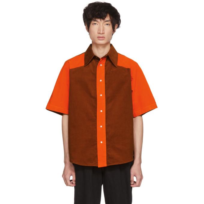 Photo: St-Henri SSENSE Exclusive Orange and Tan Corduroy Shirt