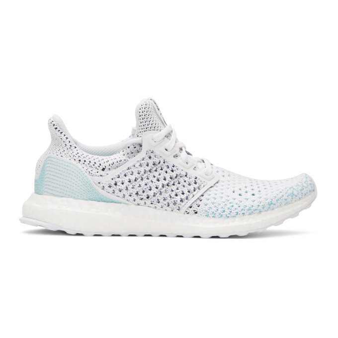 adidas Originals White and Blue UltraBOOST Parley PK Sneakers