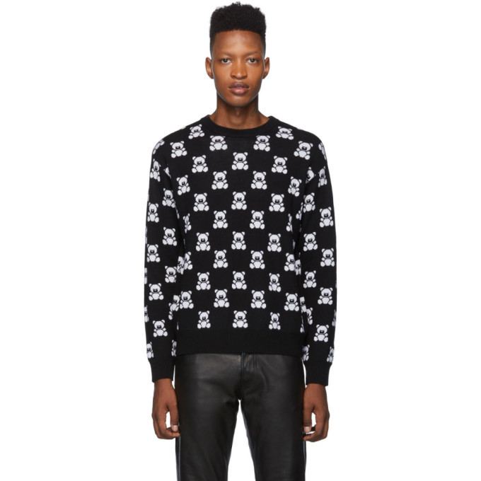Photo: Moschino Black All Over Teddy Crewneck Sweater