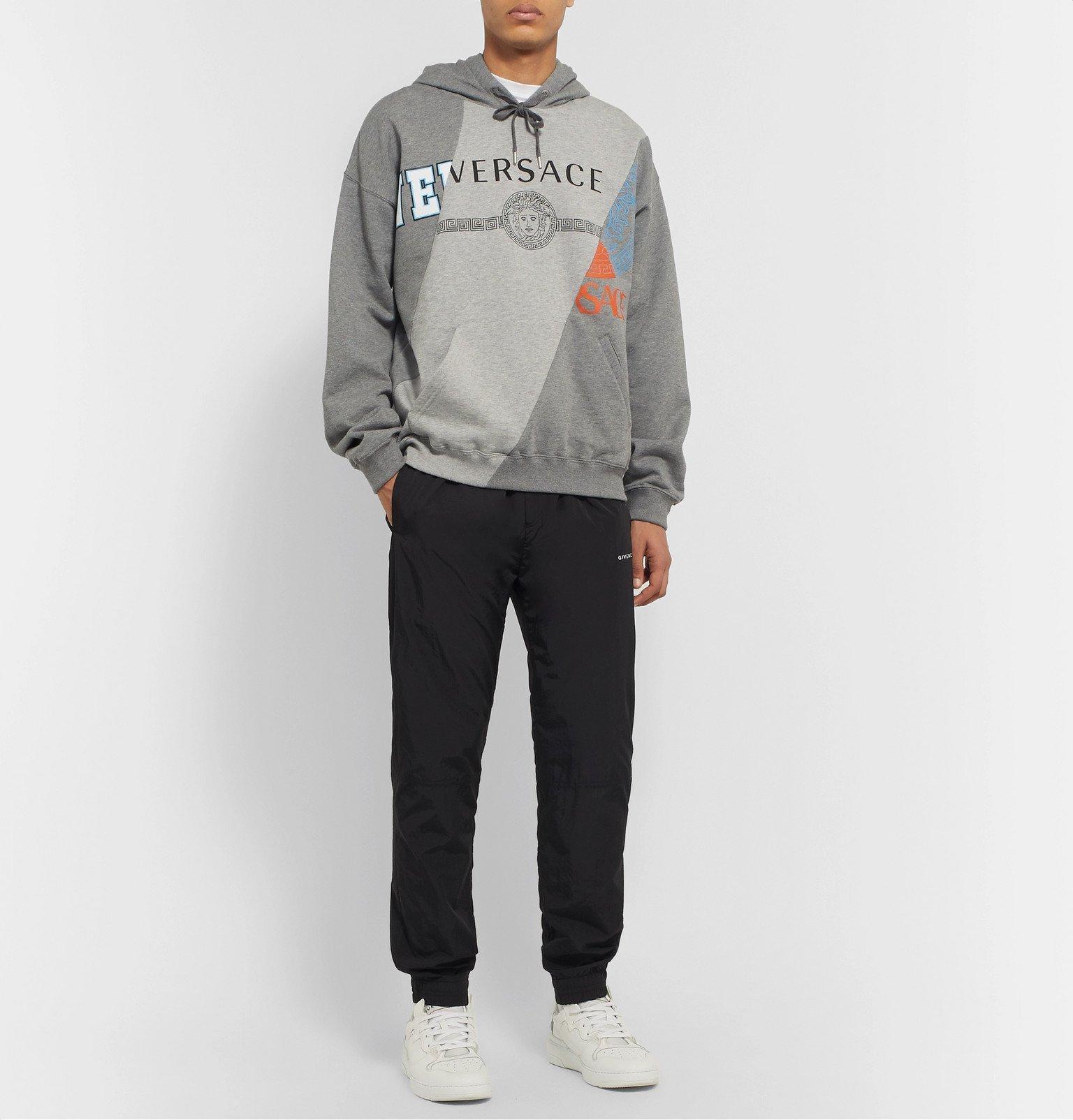 Versace - Panelled Printed Fleece-Back Cotton-Jersey Hoodie - Gray