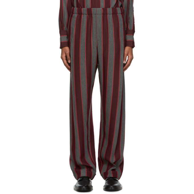 Photo: Wales Bonner Red and Grey Roots Lounge Pants