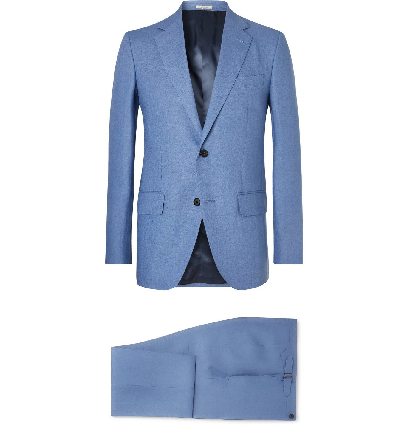 Photo: Husbands - Blue Slim-Fit Linen Suit - Blue