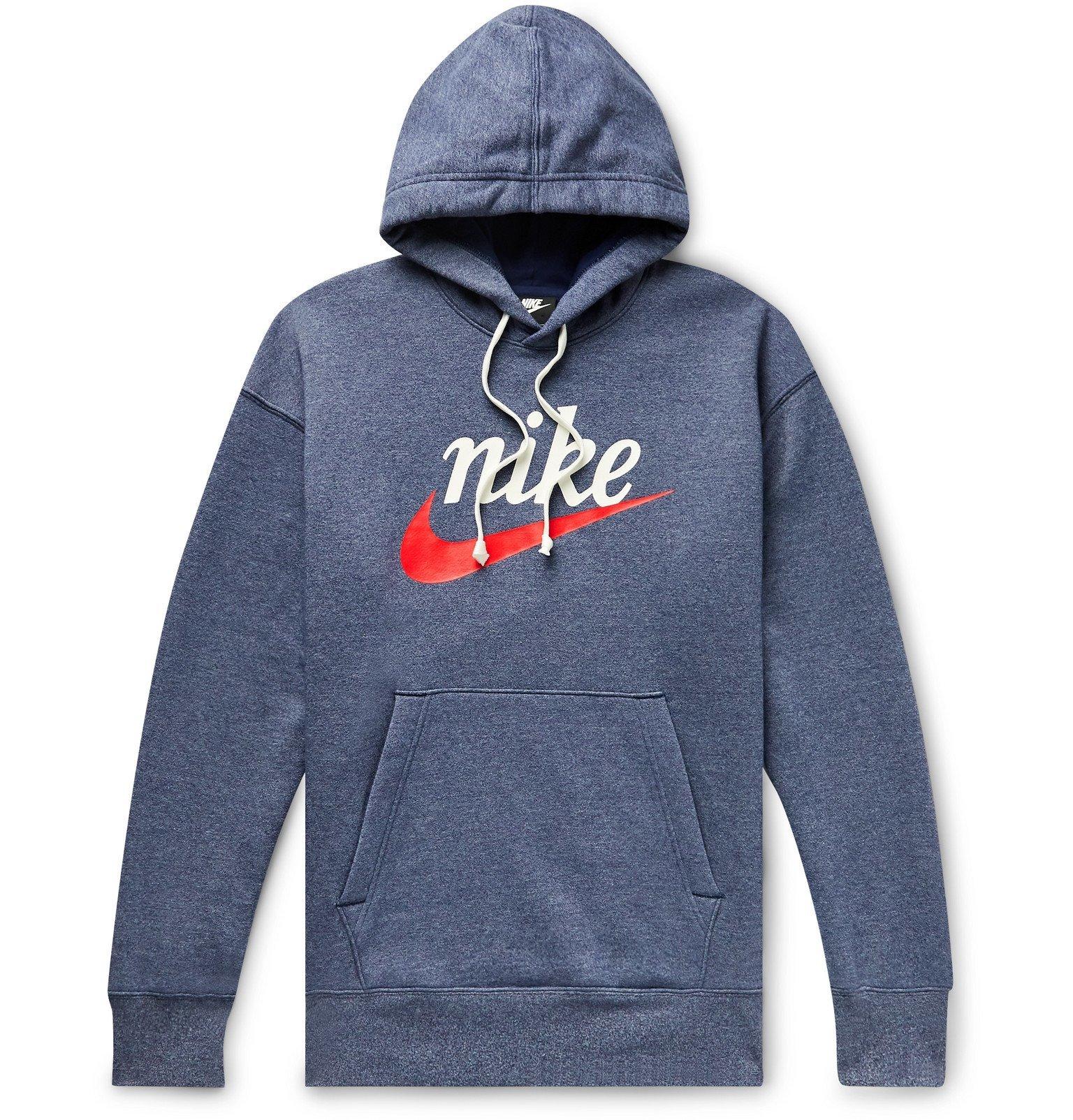 Photo: Nike - Sportswear Heritage Logo-Print Fleece-Back Cotton-Blend Jersey Hoodie - Blue