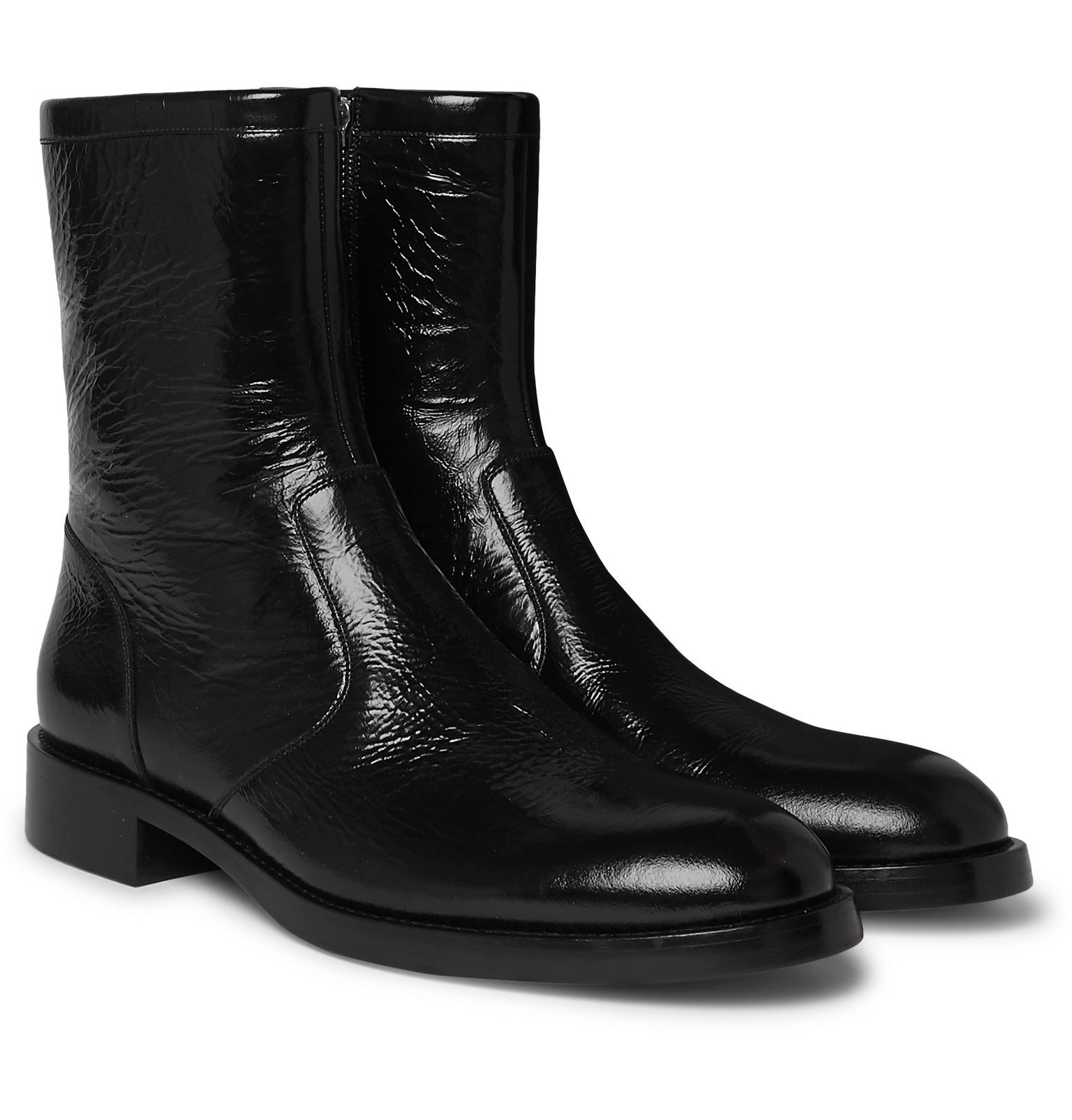 Photo: Givenchy - Cruz Cracked Patent-Leather Boots - Black