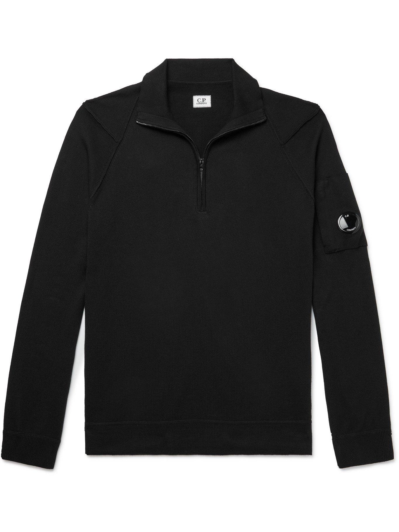 Photo: C.P. COMPANY - Sea Island Cotton Half-Zip Sweater - Black - IT 48