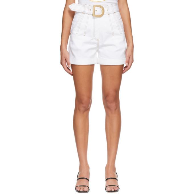 Photo: Balmain White Denim Belted Shorts