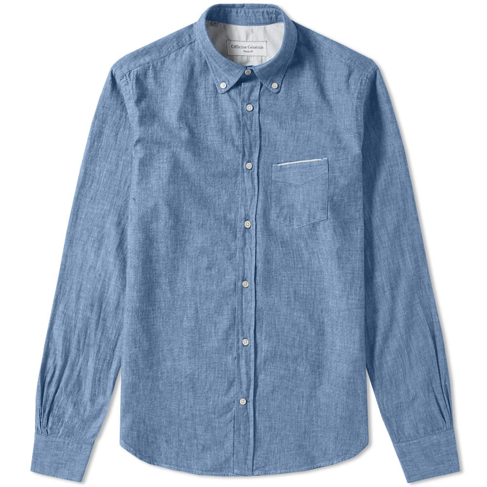 Photo: Officine Generale Button Down Japanese Selvedge Chambray Shirt Blue