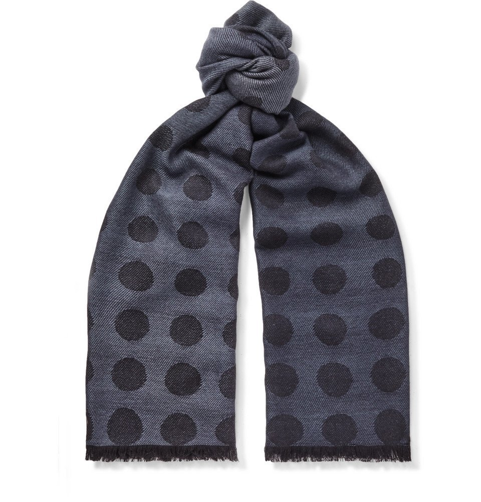 Photo: Paul Smith - Fringed Polka-Dot Wool and Silk-Blend Jacquard Scarf - Blue
